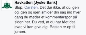 Jyske Bank NÆGTER AT SVARE det handler om JURAEN siger de